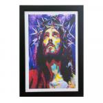 QUADRO 24X34CM MOLDURA PRETA JESUS COM A COROA DE ESPINHOS