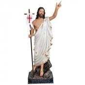 IMAGEM JESUS RESSUSCITA 60 CM DE ALTURA OLHO DE VIDRO