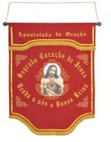 ESTANDARTE DO APOSTOLADO DA ORAÇÃO BORDADO 98CM DE ALTURA