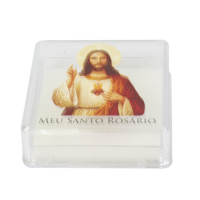 CAIXINHA ITALIANA ACRÍLICA PARA TERÇO SAGRADO CORAÇÃO DE JESUS 7X7