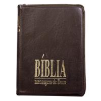 BÍBLIA MENSAGEM DE DEUS - BOLSO - ZÍPER E ÍNDICE DIGITAL