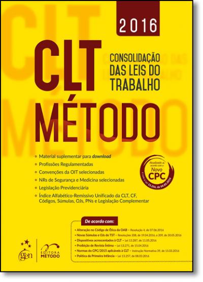 CLT METODO - CONSOLIDAÇAO DAS LEIS DE TRABALHO