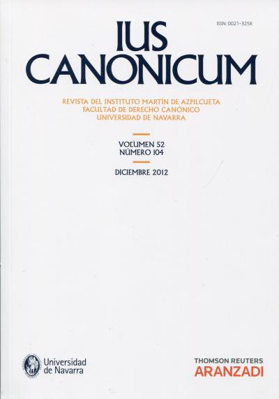 LUS CANONICUM - REVISTA DEL INSTITUTO MATIN DE AZPILCUETRA VOLUMEN 52, 104 - 1ª